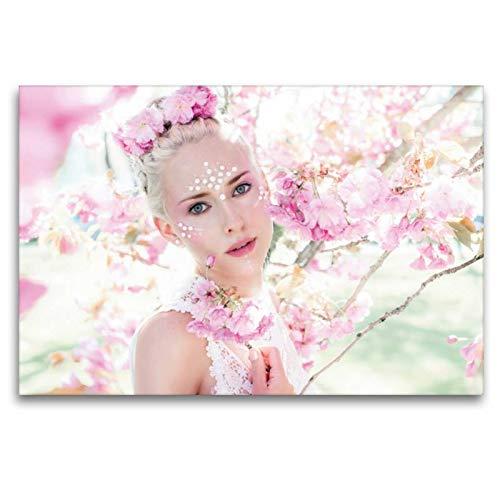 Kostüm Frühlingsfee Kind - Calvendo Premium Textil-Leinwand 120 cm x 80 cm quer, Frühlingsfee | Wandbild, Bild auf Keilrahmen, Fertigbild auf echter Leinwand, Leinwanddruck Menschen Menschen