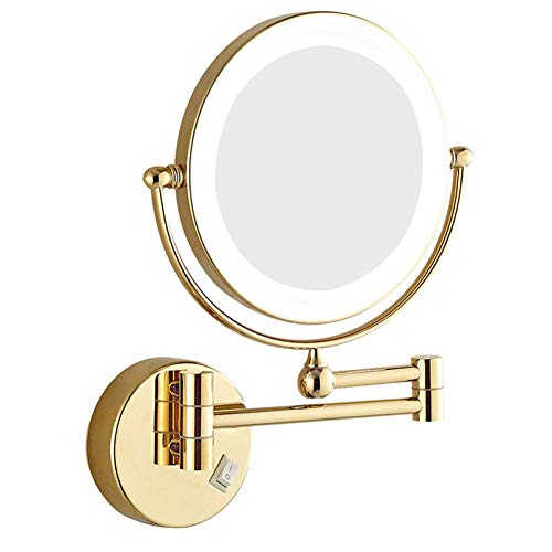 SEJNGF Kosmetikspiegel Mit LED Beleuchtung Und 3X/5X/7X Facher Vergrößerung Aus Kristallglas, Edelstahl Und Messing,Gold-7X -