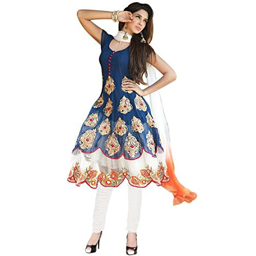 Florence Women\'s Net Salwar Suit Dupatta Material(SB-3458_Blue and White_Free Size)