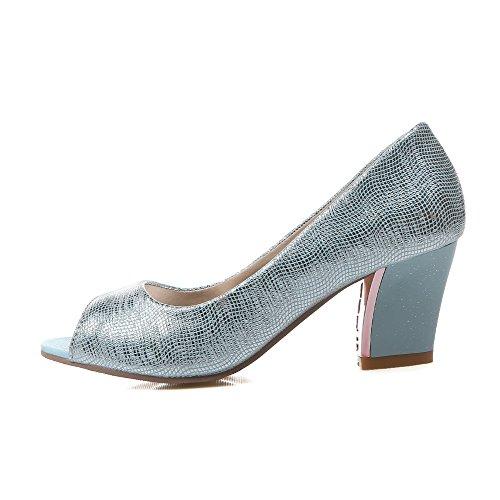 Odomolor Damen Weiches Material Fischkopf Schuhe Mittler Absatz Ziehen Auf Rein  Sandalen Blau