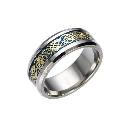 ERDING Unisex/Verlobungsring/Freundschaftsring/Drachen Titan Edelstahl Ring Herren Schmuck Ehering Silber Herrenmode Ring