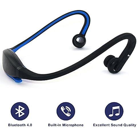 Auriculares, Bluetooth 4.0, sonido estéreo, micrófono incorporado, llamadas manos libres, azul
