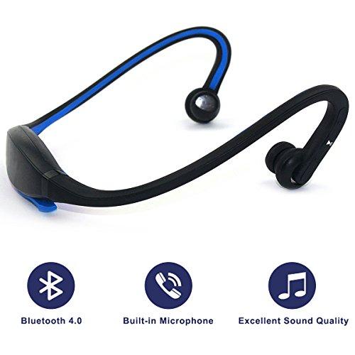 Headset Bluetooth 4,0 Auricolari Stereo con suono di qualità per sport, microfono integrato per chiamate a mani libere, Blu