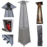 Top-Multi Terrassen Heizstrahler in Pyramidenform aus Edelstahl mit Quarzglas