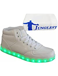 [Present:kleines Handtuch]Weiß 41 Damen Sport Schuhe JUNGLEST Leuchtende Light Sneakers High Led Licht Blinkende Top pq60UyyON