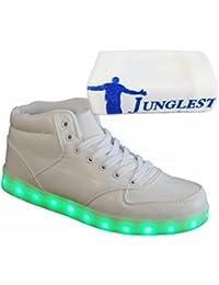 JUNGLEST [Present:Kleines Handtuch] Weiß EU 39, USB Weiß Top Weise Herren Damen Farbe LED Leuchtschuhe Licht Schuhe Aufladen Sneaker 7 High mit SPO