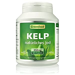 Kelp, 450 mg, Vegi-Kapseln – natürliches Jod (100% Tagesbedarf) aus der Braunalge. Wichtig für Schilddrüse, Hormonhaushalt und Nervensystem. OHNE künstliche Zusätze, ohne Gentechnik. Vegan.