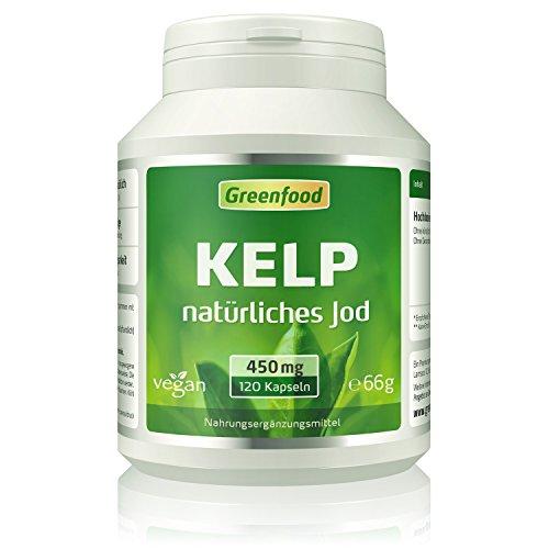 Kelp, 450 mg, 120 Vegi-Kapseln - natürliches Jod (100% Tagesbedarf) aus der Braunalge. Wichtig für Schilddrüse, Hormonhaushalt und Nervensystem. OHNE künstliche Zusätze, ohne Gentechnik. Vegan. -
