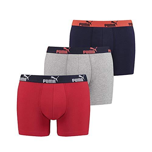 PUMA Hombres Básico Bóxer Sólido Pantalones Cortos (Paquete de 3) - Rojo-Azul Marino, XL