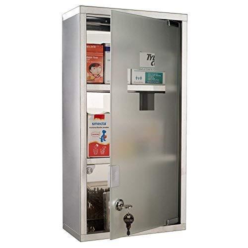 Homcom Armoire à Pharmacie Murale, Acier Inoxydable, 2 étagères, Porte verrouillable en Verre de sécurité, 48 cm de Hauteur