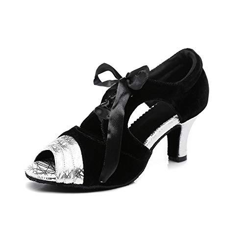 HCCY Scarpe da Ballo Latino Indoor da Donna Argento Nero Scarpe da Ginnastica morbide con Tacco Alto, 5 cm, 41