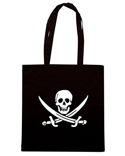 T-Shirtshock - Borsa Shopping TR0081 Jolly Roger 25mm 1 Pin Badge Button Pirate Skull Crossbones Nero