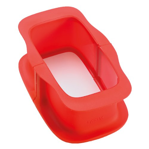 Lékué 2412315 - Molde rectangular desmontable, 15 cm + plato de cerámica, color rojo