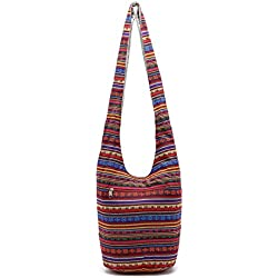 UNYU Vintage Boho Bag - Bolso cruzados para mujer Rojo rosso Talla única