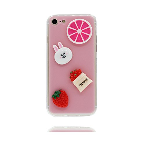 Custodia iPhone 7 Plus , Case TPU 3D Durable Cute Shockproof Copertura per iPhone 7 Plus ( 5.5 ) Cover Shell Soft TPU / fragola Limone (rosa ) rosa 1