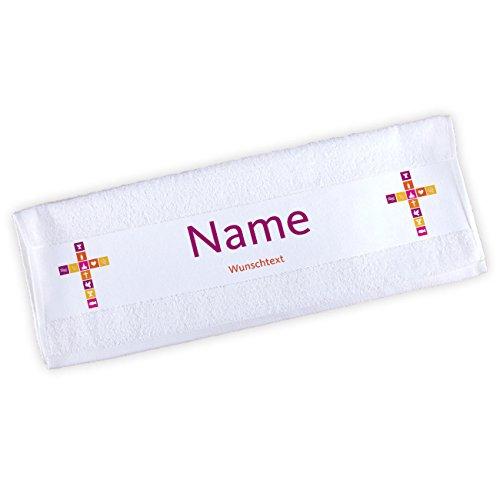 Striefchen® Handtuch zur Taufe / Kommunion / Konfirmation mit Namen und Wunschtext für Mädchen