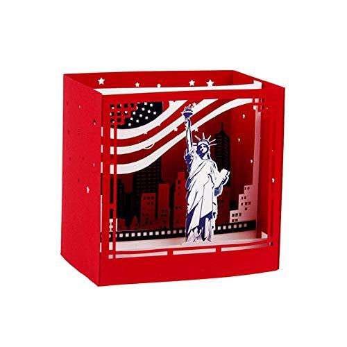 WEIWEITOE-DE Kreative Ornament 3D New York Grußkarte Geburtstagskarte Festival Segen Karte Papier Geschenk Karte Dekor Zubehör, rot,
