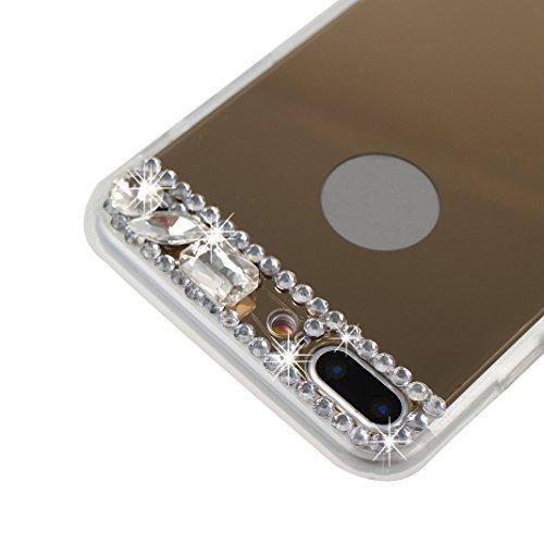 iPhone 7 Plus Glitzer Hülle, Rosa Schleife Slim Phone Case TPU Transparent Cases Glänzend Sparkle Diamant Strass Kristall Spiegel BackCover Handyhülle Silikon Bling Crystal Bumper Schale für iPhone 7  Gold