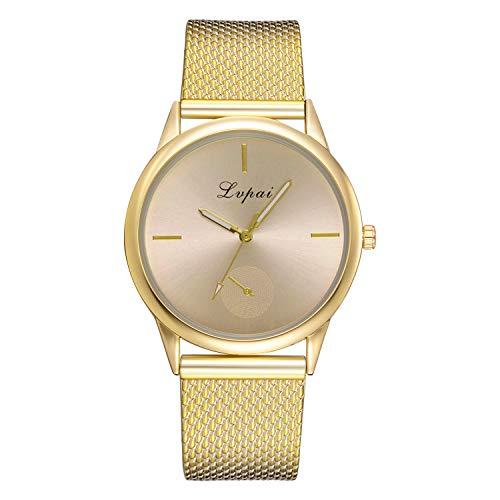 Uhren Damen Armbanduhr Damen Klassisch Uhr Leder Wristwatch Stainless Steel Dial Quartz Wrist Watch mit Edelstahl Uhrenarmband,YpingLonk