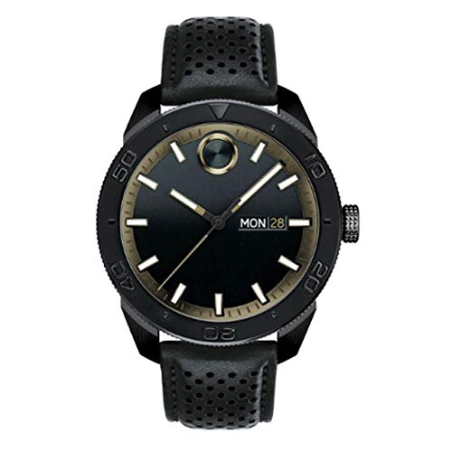 Movado Men's Bold 43.5mm Black Leather Band Steel Case Sapphire Crystal Quartz Analog Watch 3600478
