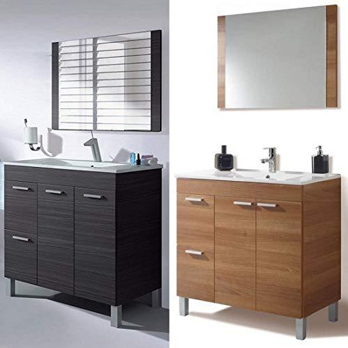 Bagno Italia Badezimmermöbel 80 x 45 x 80 cm mit Füßen 2 Farben Walnuss Dunkelgrau Spiegel Waschbecken Keramik