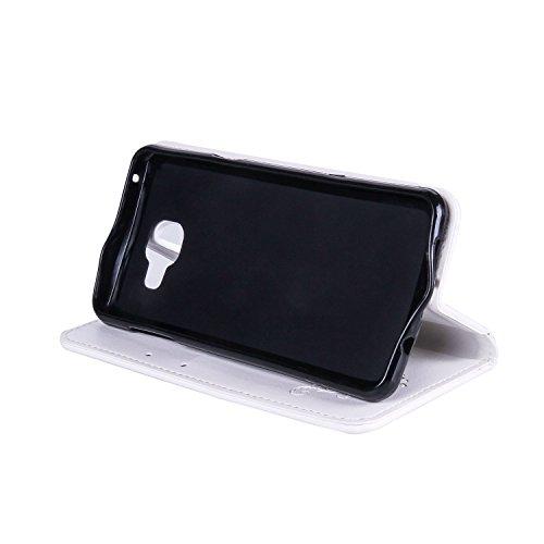 Horizontale Flip Stand Case Retro PU Leder Magnetische Verschluss Shell Abdeckung mit Lanyard & Card Slots für Samsung Galaxy A3 2017 ( Color : White ) White