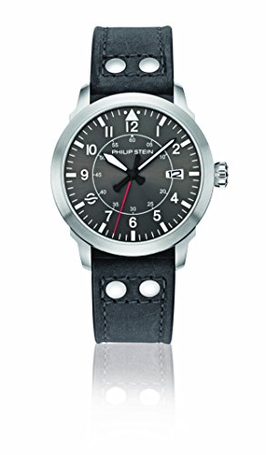 Philip Stein Men's 'Sky Finder' Quartz Stainless Steel and Leather Casual Watch, Color:Grey (Model: 700-PLTDGR-CARG)