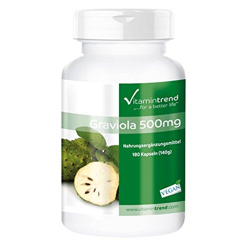 Graviola 500mg – Bote para ¡5 MESES! - fruta graviola en polvo – 180 cápsulas para 140 días - Aporta energía y vitalidad - digestión saludable