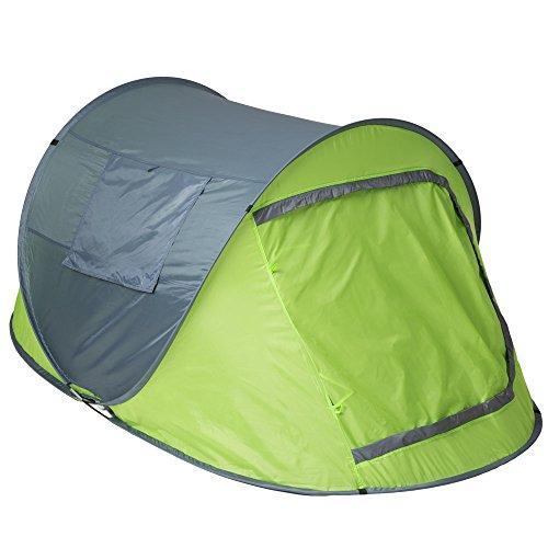 TecTake Wurfzelt Pop-up Zelt Automatikzelt für bis zu 2 Personen 1500mm Wassersäule + Tasche, Seile, Heringe - diverse Farben - (Grün-Grau | Nr. 401675) -