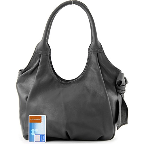 Moda de - tappo borsa donna a spalla borsa Custodia in pelle in nappa IT28 Grigio scuro