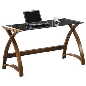 Jual Helsinki Curved Walnut and Black Glass Laptop Desk