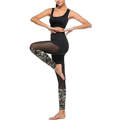 Pantalones Yoga Mujeres, Yusealia Cintura Alta Costura de Camuflaje Puntadas Casual Leggins Pantalones Elasticidad de Moda Correr Leggings EláSticos De Flaco Fitness Leggins Mujer