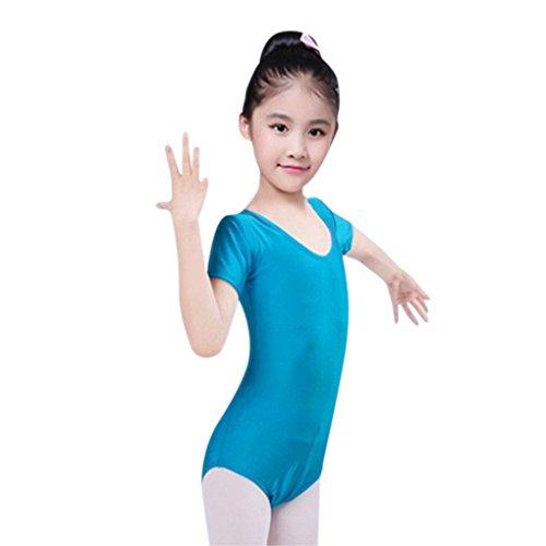 JYJM Süße Sommer Kleinkind Mädchen Baby Trikots Ballett Playsuit Dancewear Gymnastik Klassische Outfits Praxis Kleidung kurzarm Gymnastik Stück Kostüme Minirock (140, - Trikot Mädchen 5t