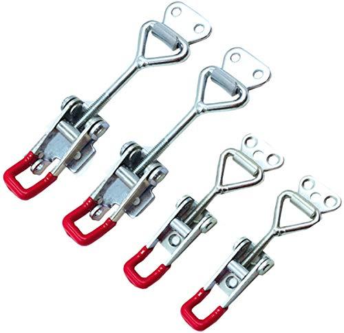 Liuer 4Pcs Toggle Latch Metall Hebel Verschluss Spannverschluss Kistenverschluss Kappenschloss 4001(2pcs,163KG/359lbs),4002 (2pcs,250KG/551lbs) Halten Kapazität Latch Button