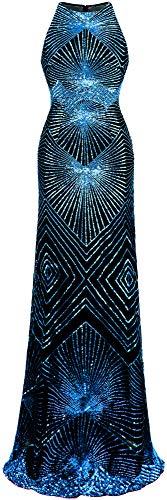 Angel-fashions Damen Gold Paillette Kunst Deko Säule Funkeln Lange Abendkleid (S, Königsblau)