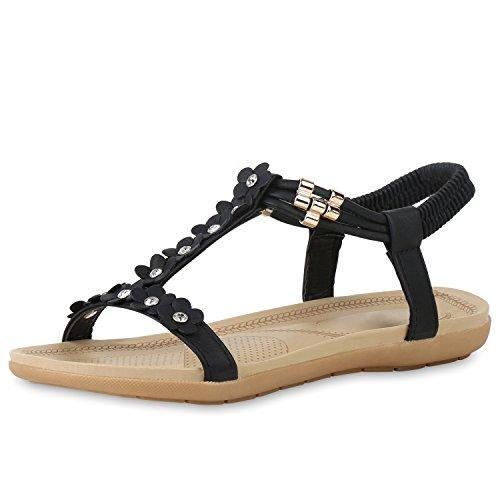 SCARPE VITA Damen Riemchensandalen Strass T-Strap Sandalen Flats Sommer Schuhe 162130 Schwarz 37