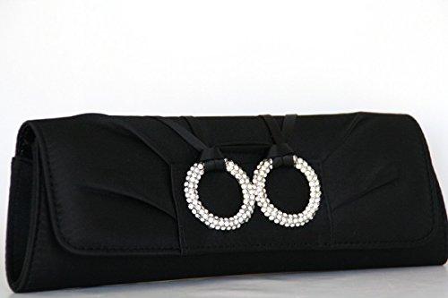 Clutch / Abendtasche mit Kette in Silber, Satin Schwarz