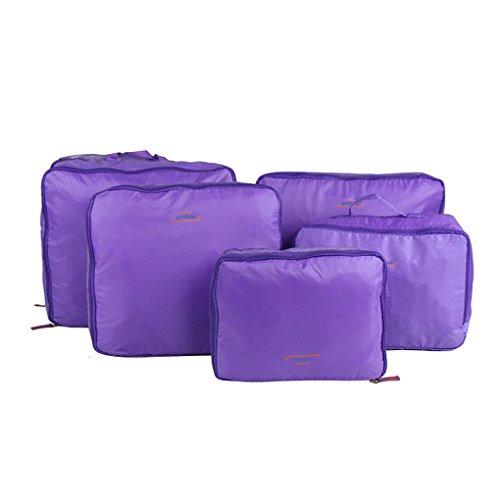 witery Lot de 5 Étui de voyage Essential Sac Sac de rangement vêtements Sous-vêtements Poignée Bagages Organisateur de rangement en maille Sacs Pochette, violet (Pourpre) - HOMA0007-05