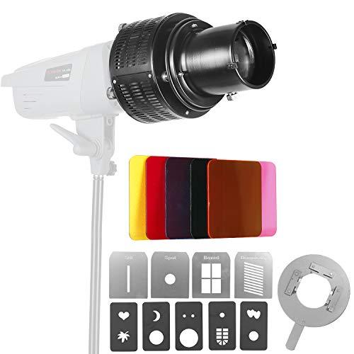Neewer Aluminiumlegierung Studio konische Spotvorsatz Snoot mit Bowens Halterung für Monolight LED Licht SL-60W SL-150W 200W usw.5 Farbfilter & 9 Grafikkarten für Spotlight Effekt -