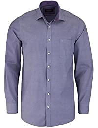 CASAMODA Comfort Fit Hemd Langarm New Kent Kragen Muster pflaume