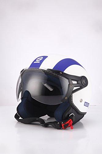 Sparco Riders 69386 Casco Moto Demi Jet, Bianco/Blu Opaco, Taglia XS