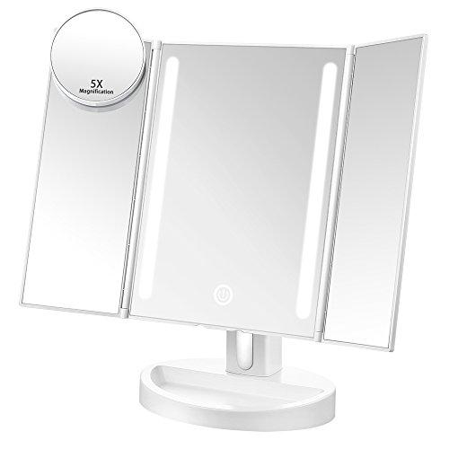 Jerrybox Beleuchteter Schminkspiegel Kosmetikspiegel mit Beleuchtung LED Make up Spiegel Faltbarer Tischspiegel, 3 Seiten, 180° Einstellbar, Dimmbar, Batteriebetrieb oder mit USB-Kabel Verbunden, Weiß