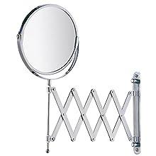 Wenko 15165100 Wallmounted beauty mirror Telescope Exclusive, mirror surface ø 17cm, 300% magnification, Metal Steel, 19 x 38.5 x 50 cm, Chrome