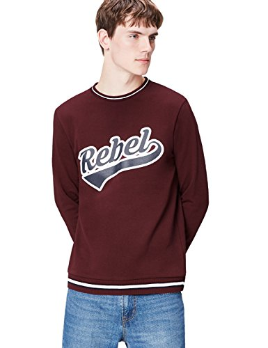 FIND Herren Sweatshirt mit Rebel Print Rot (Tawny Port)