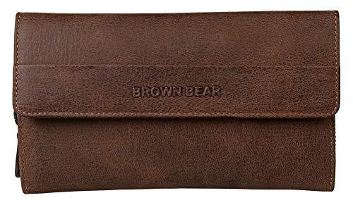7601247ba75f6 Brown Bear hochwertige RFID Schutz Geldbörse Damen Leder Braun Vintage groß  viele Fächer