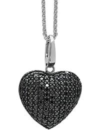 Burgmeister Jewelry Damen-Halskette mit Anhänger 925/-Sterling Silber rhodiniert, Zopfkette 45cm Herzanhänger Zirkonia schwarz JBM1040-421