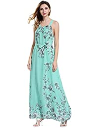 b877d53d1cad Bekleidung Longra❤ ❤ Kleider Damen, Frauen Ärmelloses Sommerkleid  Strandkleider Blumenmuster Lang Maxi