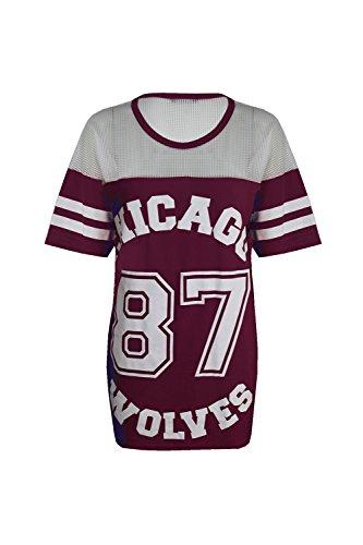 Damen Baggy Chicago 87 Wolves Baseball T-Shirt Oversize, Top Long, - Wine - Round Crew Neck Casual Celeb Celebrity, S/M (EU 36/38)
