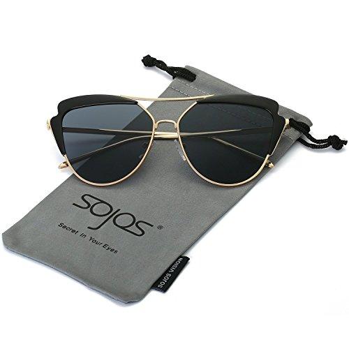 SOJOS Schick Klassische Retro Cateye Verspiegelt Sonnenbrille Damen SJ1061 mit Gold Rahmen/Grau Linse