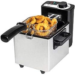 Cecotec Friteuse Acier Inoxydable CleanFry 1,5 L, Filtre OilClean, 1,5 L. 1000 W de Puissance